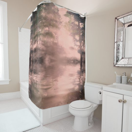 Pink Misty Pine Forest And River Shower Curtain
