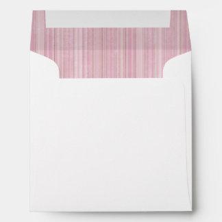 Pink Mixed Stripe Vintage Fabric Lining Square Envelope