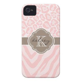 Pink & Mocha Chic Animal Print Custom Monogram iPhone 4 Cases