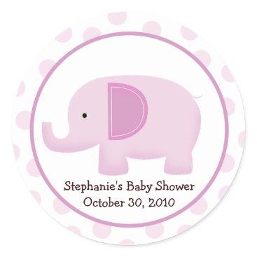 Pink Mod Elephant Baby Shower Favor Sticker