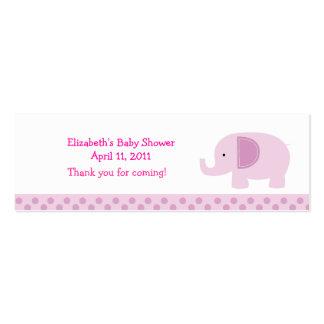 Pink Mod Elephant Shower / Birthday Favor Tag Mini Business Card