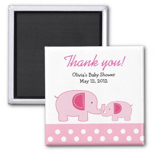 Pink Mod Elephants Trendy Jungle Favor Magnet
