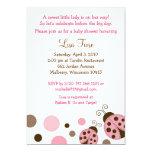 Pink Mod Ladybug Dot Baby Shower Invitations