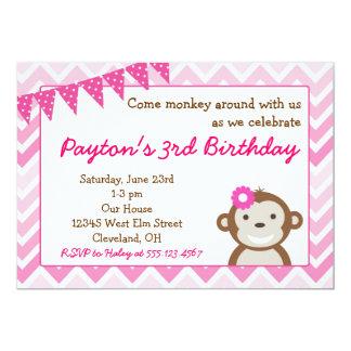 Pink Mod Monkey Birthday Party Invitation