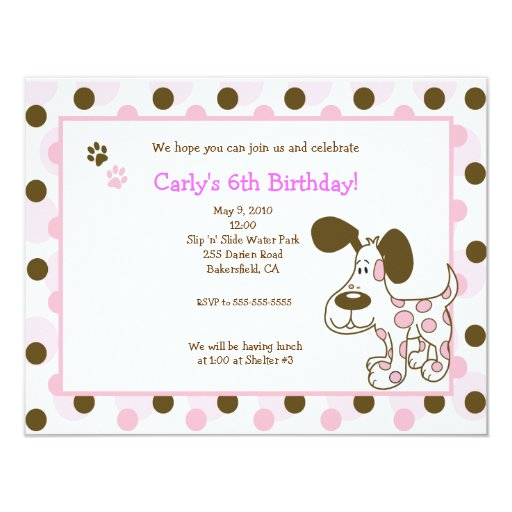 PINK MOD PUPPY Girl Birthday Invitations