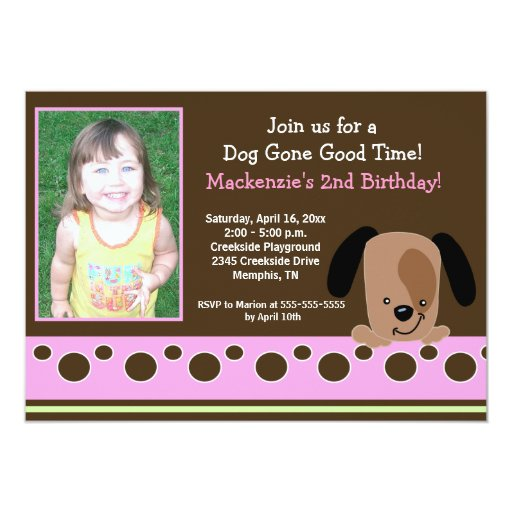 Pink Mod Puppy *PHOTO* Birthday 5x7 Card