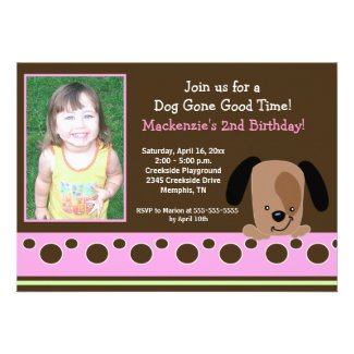 Pink Mod Puppy *PHOTO* Birthday 5x7 Personalized Announcement