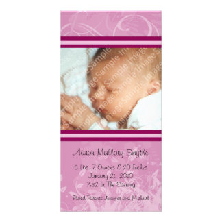 Pink Mod Style New Baby Photo Card