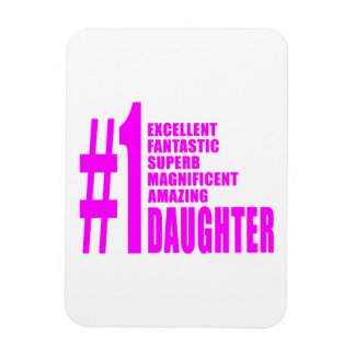 Pink Modern 1 Daughters Number One Daughter Flexible Magnets