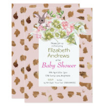 Pink Modern Baby  Floral Rabbit Shower Invitation