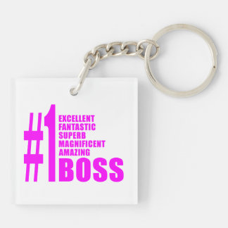 Pink Modern Bosses : Number One Boss Key Chain