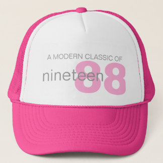 Pink modern classic age / birth year girls hat