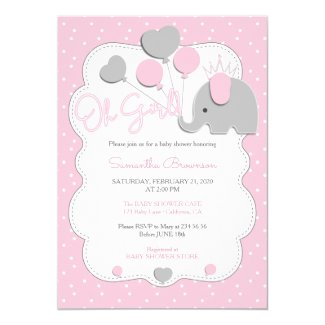 Pink Modern Elephant Crown Oh Girl Baby Shower Invitation