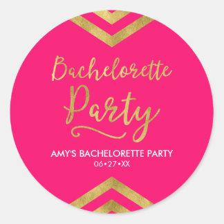 Pink Modern Faux Gold Chevron Bachelorette Party Classic Round Sticker
