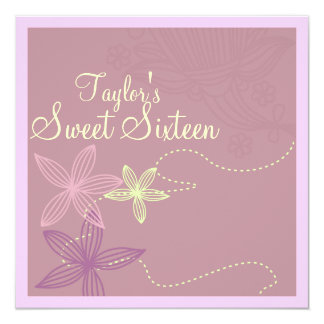 Pink Modern Floral Sweet16 Birthday Invite