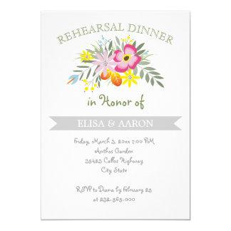 "Pink modern floral wedding rehearsal dinner 5"" x 7"" invitation card"