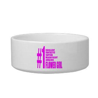 Pink Modern Flower Girls Number One Flower Girl Pet Bowl