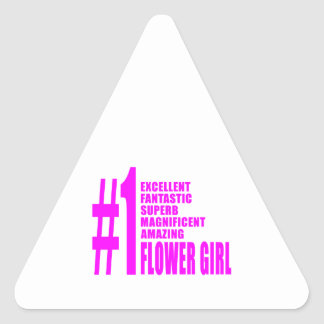 Pink Modern Flower Girls : Number One Flower Girl Triangle Sticker