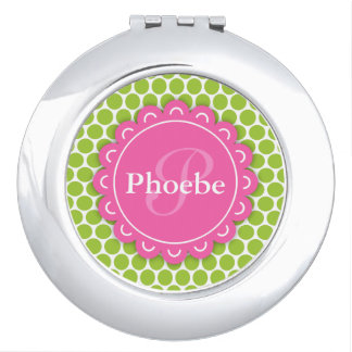Pink Modern Flower Monogram Lime Green Polka Dots Vanity Mirror