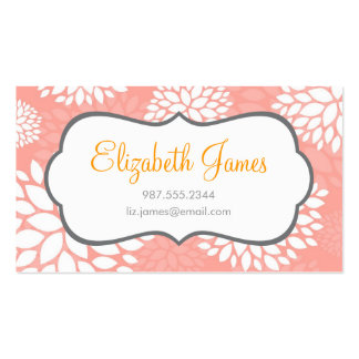 Pink Modern Flowers Double-Sided Standard Business Cards (Pack Of 100)