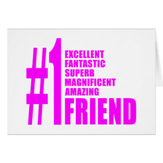 Pink Modern Friends : Number One Friend Cards