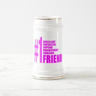 Pink Modern Friends : Number One Friend Coffee Mugs