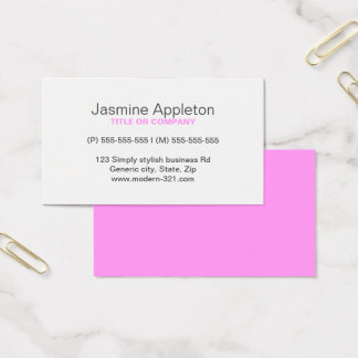 Pink modern generic simple elegant personal business card