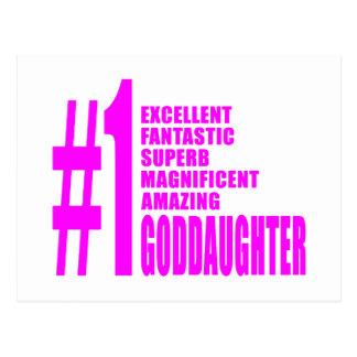 Pink Modern Goddaughters Number One Goddaughter Postcard
