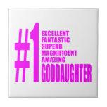 Pink Modern Goddaughters : Number One Goddaughter Ceramic Tiles