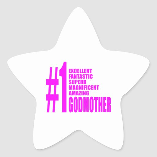 Pink Modern Godmothers : Number One Godmother Star Stickers