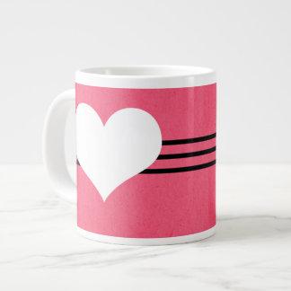 Pink Modern Heart Jumbo Mug