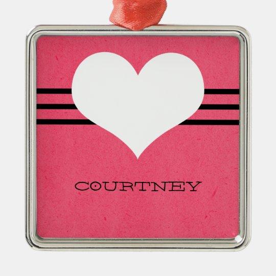 Pink Modern Heart Ornament