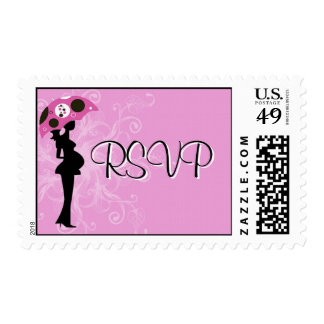 Pink Modern Mom with Umbrella Postage