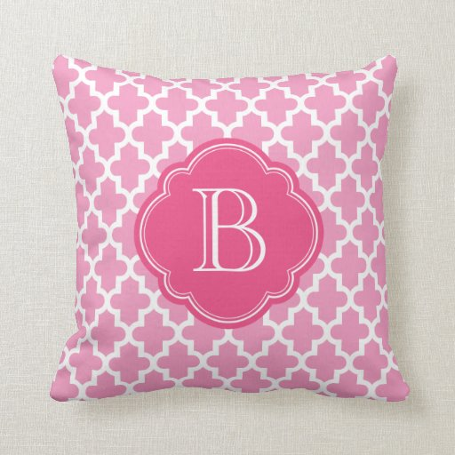 Pink Modern Moroccan Custom Monogram Pillow