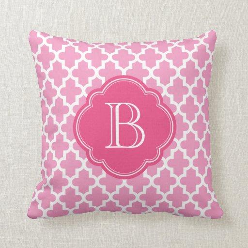 Pink Modern Moroccan Custom Monogram Throw Pillows
