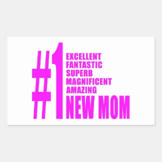 Pink Modern New Moms  Number One New Mom Rectangular Sticker