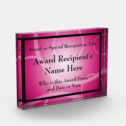 Pink Modern Personalized Acrylic Award Plaque