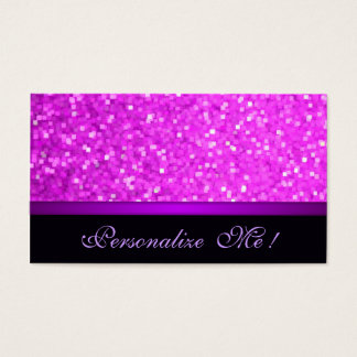 Pink Modern Purple Girly Sparkle Glitter Elegant Business Card