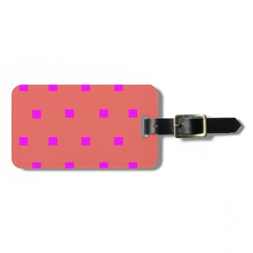 Beach Themed Pink modern squares luggage tag