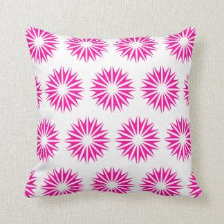 Pink Modern Sunbursts Throw Pillow