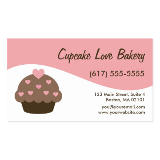 Pink Modern Swirl Cupcake Business Cards