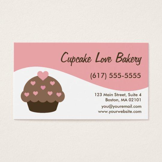 Pink Modern Swirl Cupcake Business Cards