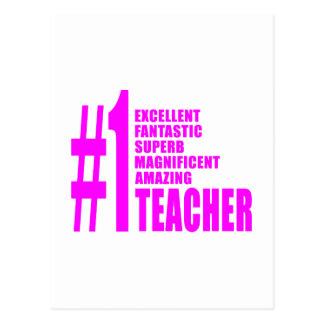 Pink Modern Teachers : Number One Teacher Post Card