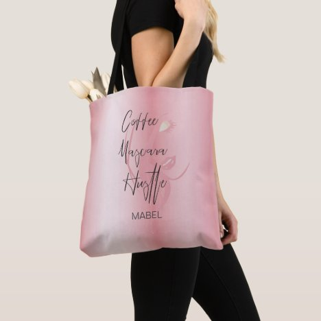 Pink Modern Typography  Coffee Hustle Chic Tote Bag