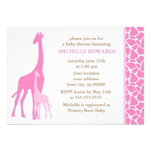 Pink Mom and Baby Giraffe Baby Shower Custom Invites