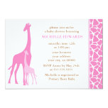 "Pink Mom and Baby Giraffe Baby Shower 5"" X 7"" Invitation Card"