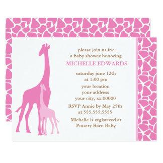 Pink Mom and Baby Giraffe Girl Baby Shower Card