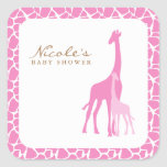 Pink Mom and Baby Giraffes Square Sticker