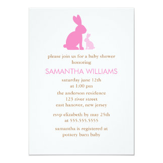 Pink Mom and Baby Rabbit Baby Shower 5x7 Paper Invitation Card