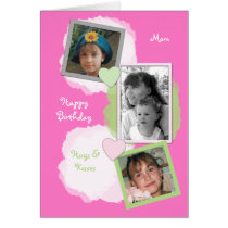 Pink Mom Birthday Photo Card